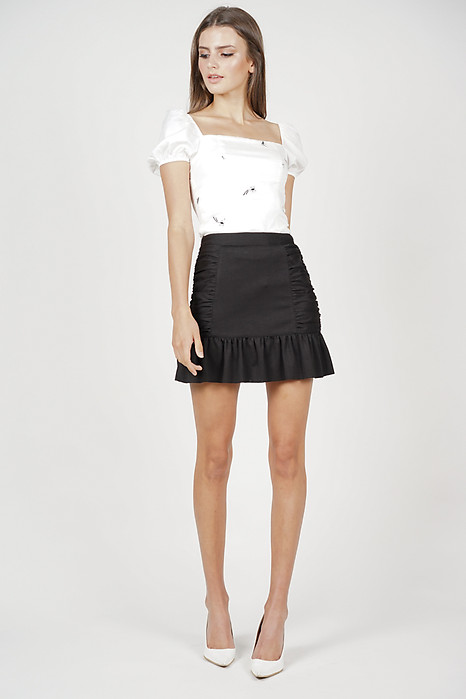 Jadah Side Ruched Skirt in Black - Arriving Soon