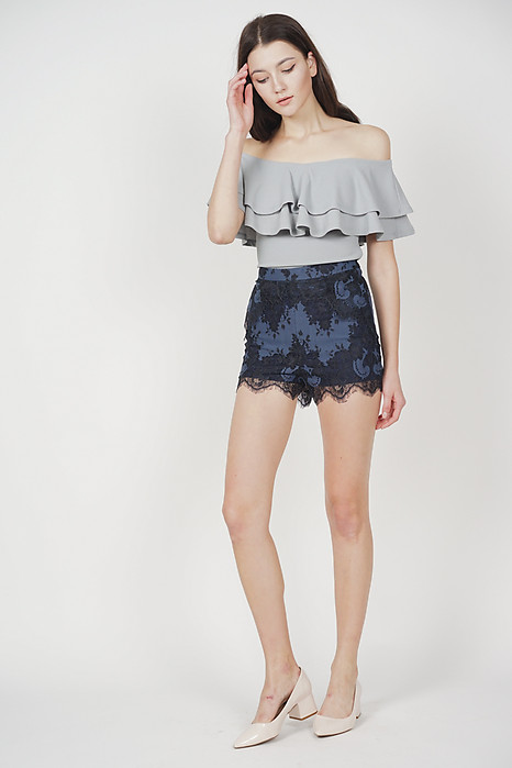 Rheta Lace-Trimmed Shorts in Navy