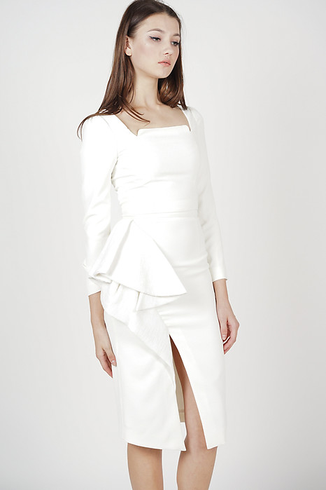 Narda Ruffed Skirt in Off White - Arriving Soon