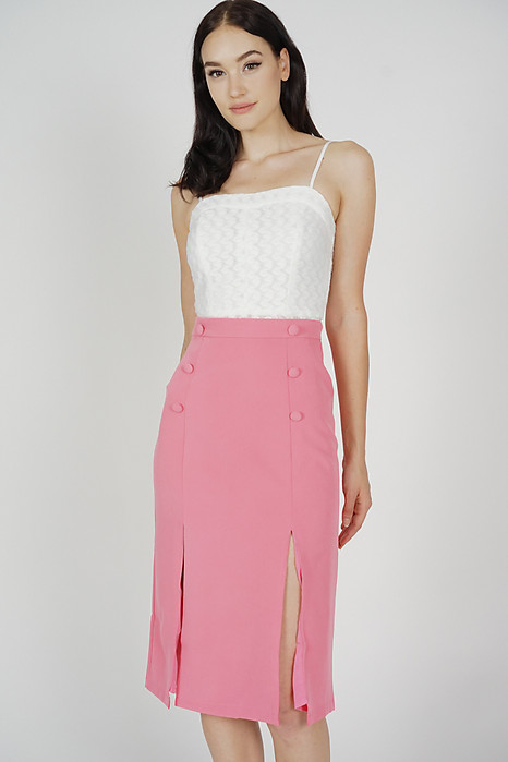 Soshie Slit Skirt in Pink - Arriving Soon