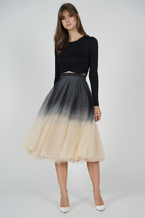 Ombre Tulle Skirt in Black Nude