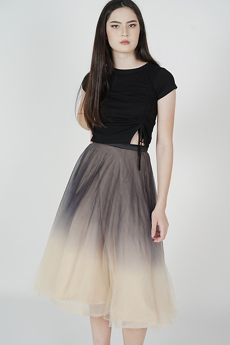 Luna Ombre Tulle Skirt in Black Nude - Arriving Soon