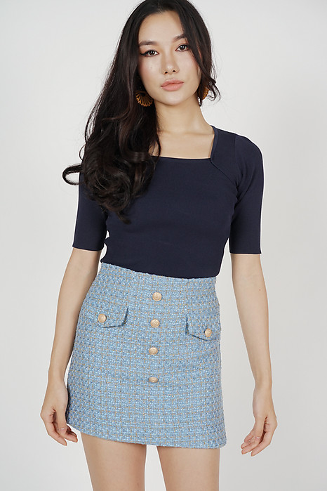 Mini Tweed Skirt in Blue - Online Exclusive