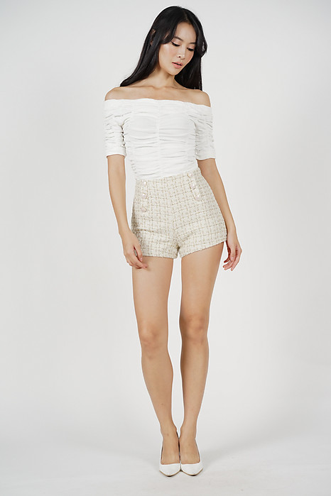 Mini Tweed Shorts in White - Online Exclusive