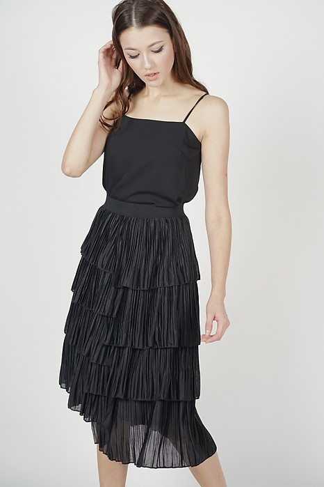 Megaira Pleated Skirt in Black - Online Exclusive