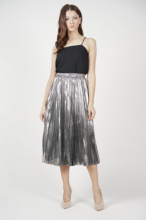 Xenia Pleated Skirt in Silver - Online Exclusive