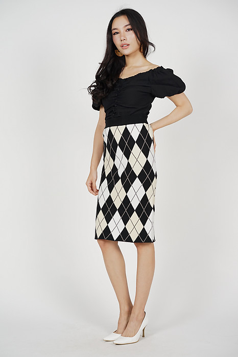 Gwendie Checkered Skirt in Brown - Online Exclusive