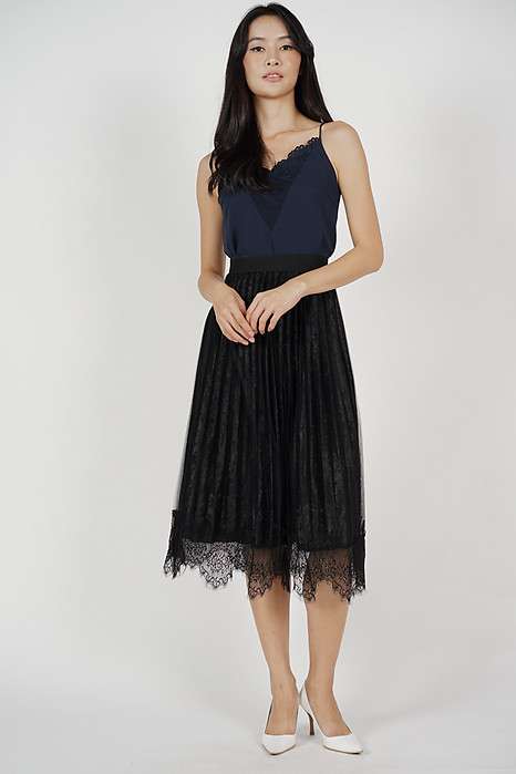 Edele Pleated Skirt in Black - Online Exclusive