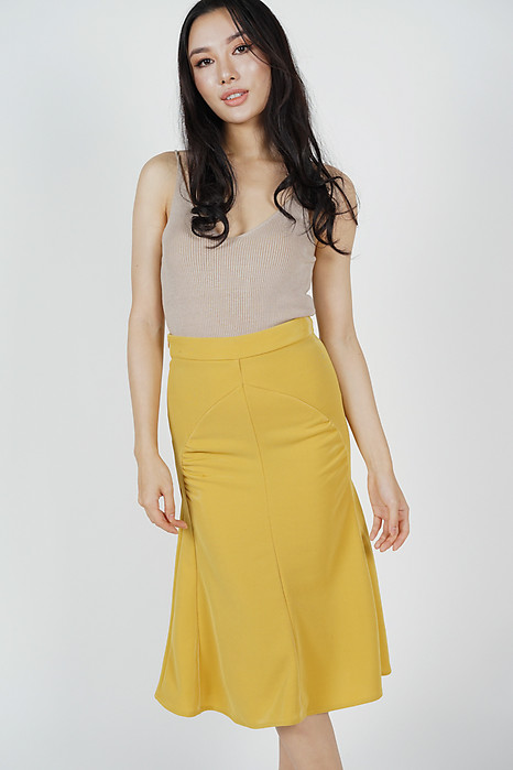 Joslyn Flare-Hem Skirt in Mustard - Online Exclusive