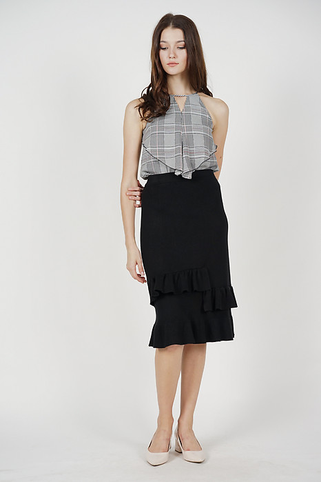 Aledi Ruffled-Hem Skirt in Black (Online Exclusive)