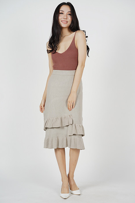 Aledi Ruffled-Hem Skirt in White (Online Exclusive)