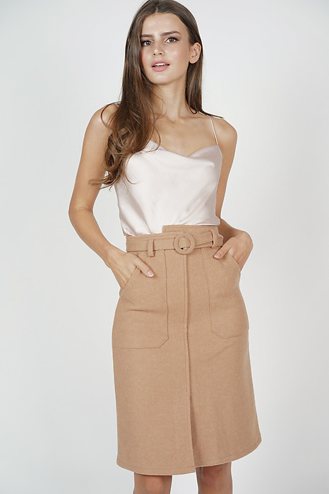 Kansa Buckled Skirt in Brown - Online Exclusive