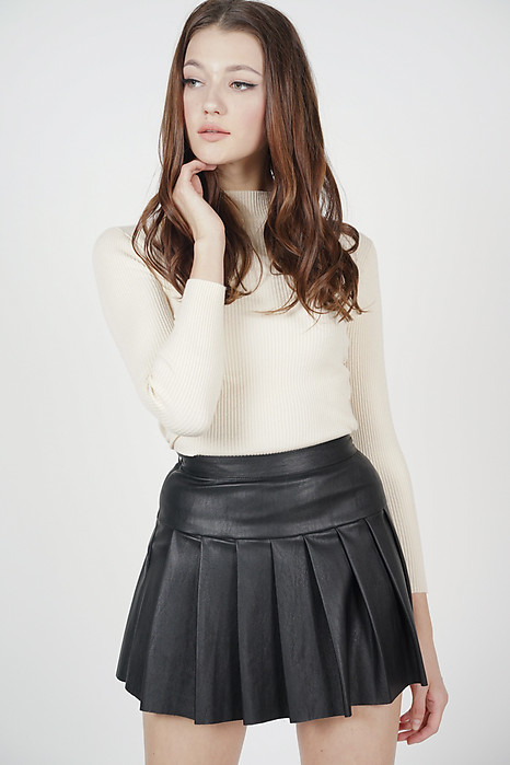 Mazie Pleated Leather Skirt in Black - Online Exclusive