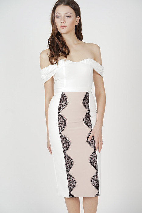 Jermaine Lace-Trimmed Skirt in White