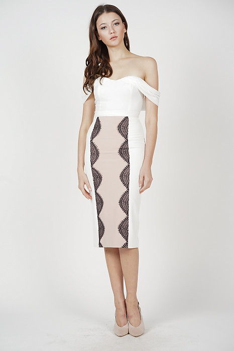 Jermaine Lace-Trimmed Skirt in White - Arriving Soon