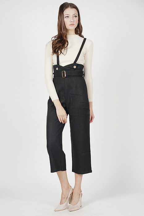 Klyder High Waisted Overalls in Black - Online Exclusive