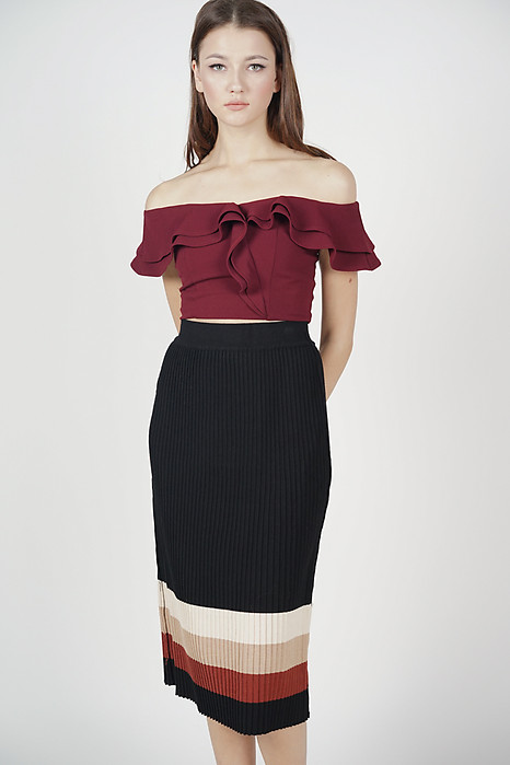 Suzan Contrast Knit Skirt in Black - Online Exclusive