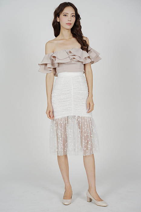 Freja Ruched Skirt in White