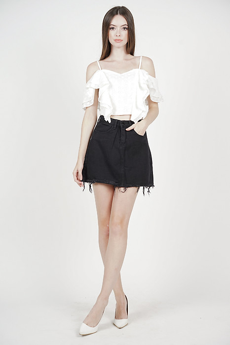 Leah Fray-Hem Skirt in Black - Online Exclusive