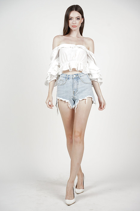 Karea Ripped Denim Shorts in Light Blue - Online Exclusive