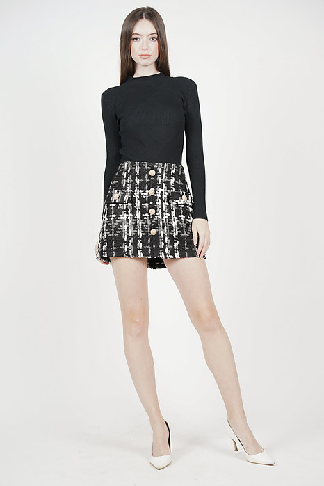 Mayden Tweed Skirt in Black - Arriving Soon
