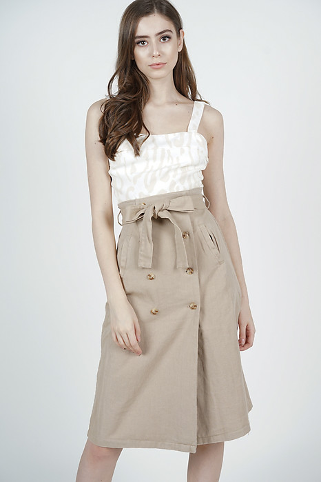 Kaizy Midi Skirt in Khaki - Online Exclusive