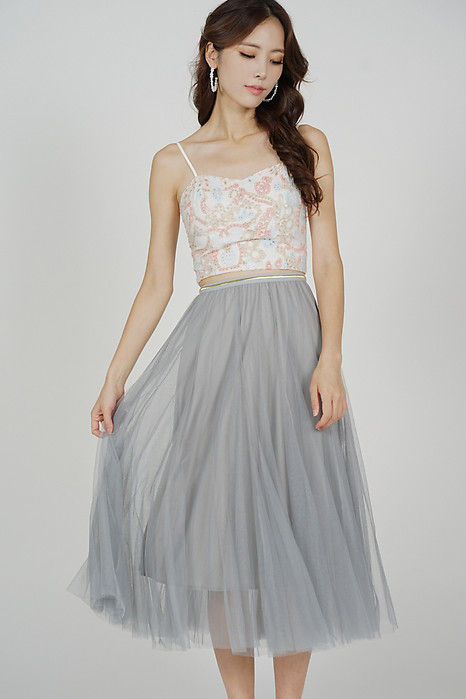 Malini Tulle Skirt in Ash Blue - Online Exclusive