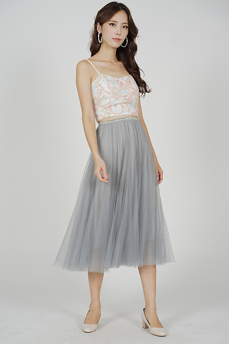 Malini Tulle Skirt in Ash Blue