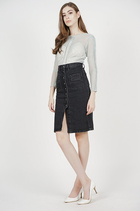 Caesar Denim Skirt in Black - Arriving Soon