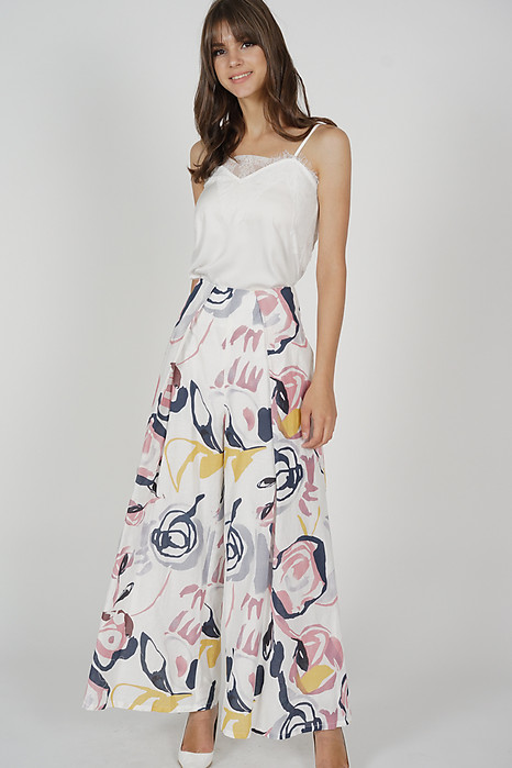 Dazalea Pleated Wide Leg Pants in White Pink - Arriving Soon