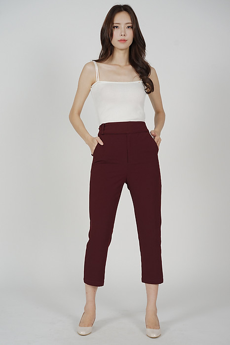 Gretchen Straight Pants in Oxblood - Arriving Soon