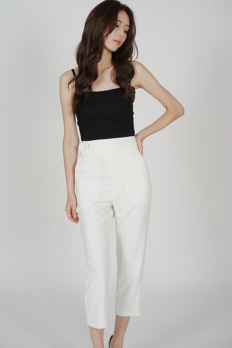 Gretchen Straight Pants in White - Arriving Soon