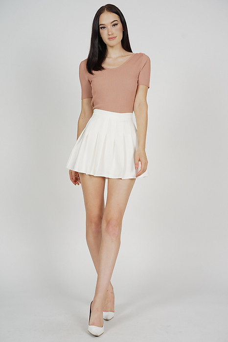 Gazelle Pleated Skorts in White - Online Exclusive