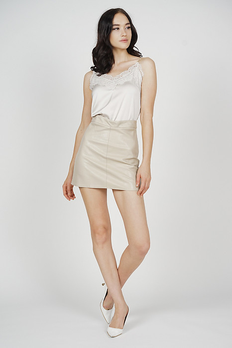 Hacci Mini Skirt in Beige - Online Exclusive