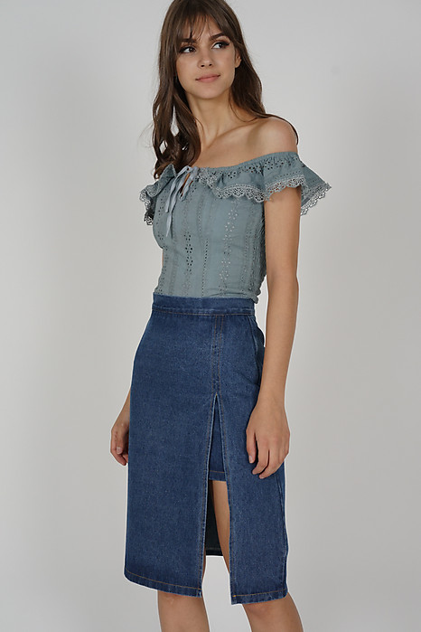 Wenda Denim Slit Skirt in Dark Blue - Arriving Soon