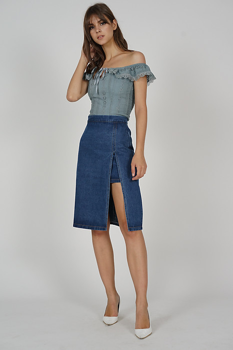 Wenda Denim Slit Skirt in Dark Blue - Online Exclusive