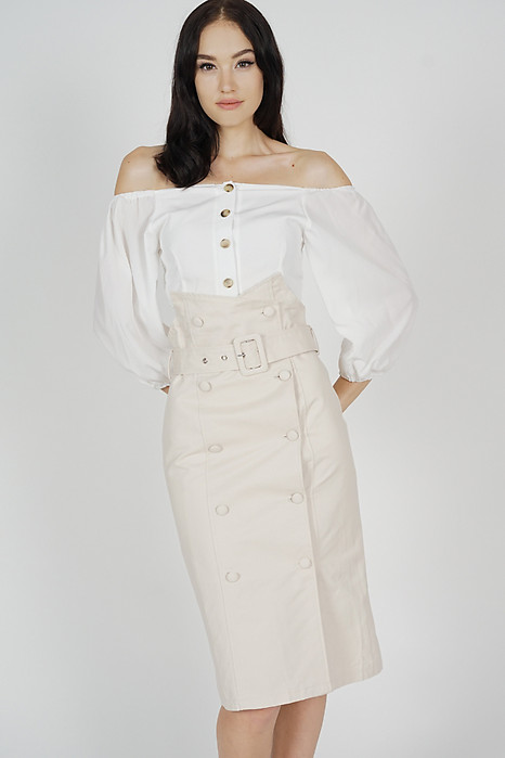 Rekna Buckled Skirt in Beige - Online Exclusive