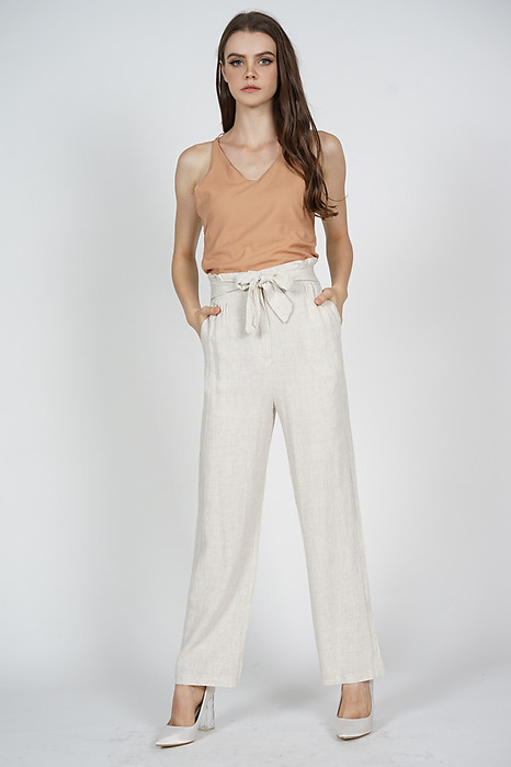 Briana Wide Leg Pants in Beige - Online Exclusive