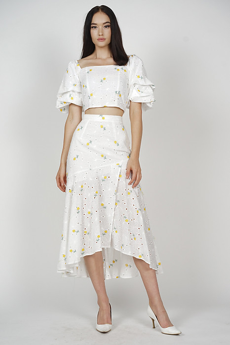Ursa Asymmetrical Flare-Hem Skirt in Yellow Floral - Arriving Soon