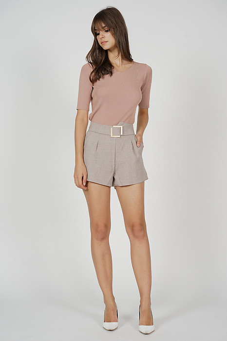 Jaydar Buckled Shorts in Beige - Online Exclusive