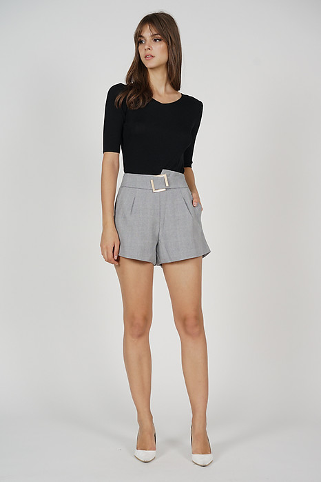 Jaydar Buckled Shorts in Grey - Online Exclusive