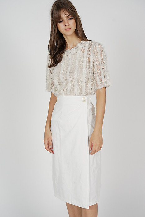 Thora Midi Skirt in White - Online Exclusive