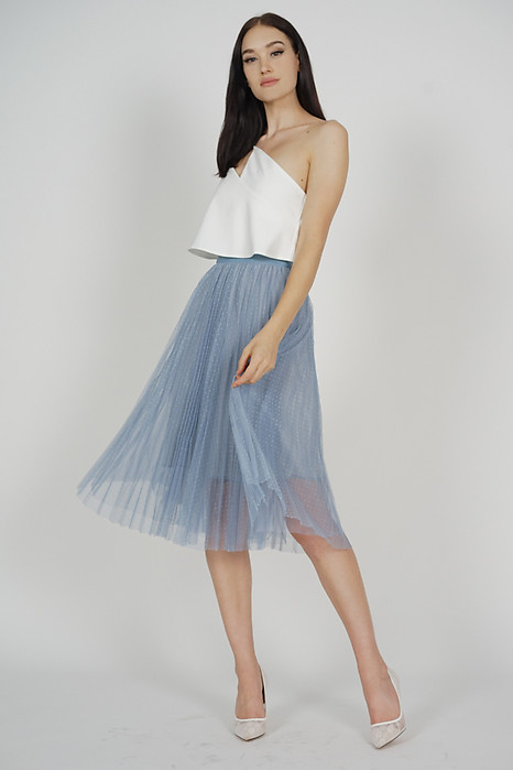 Edlas Gathered Tulle Skirt in Ash Blue - Online Exclusive