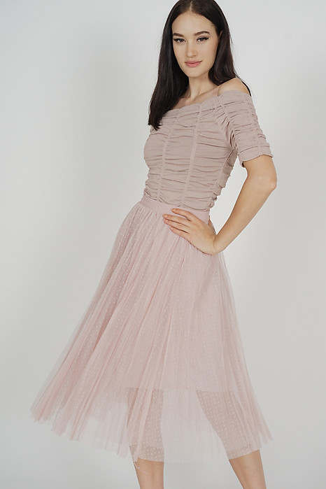 Edlas Gathered Tulle Skirt in Mauve - Online Exclusive