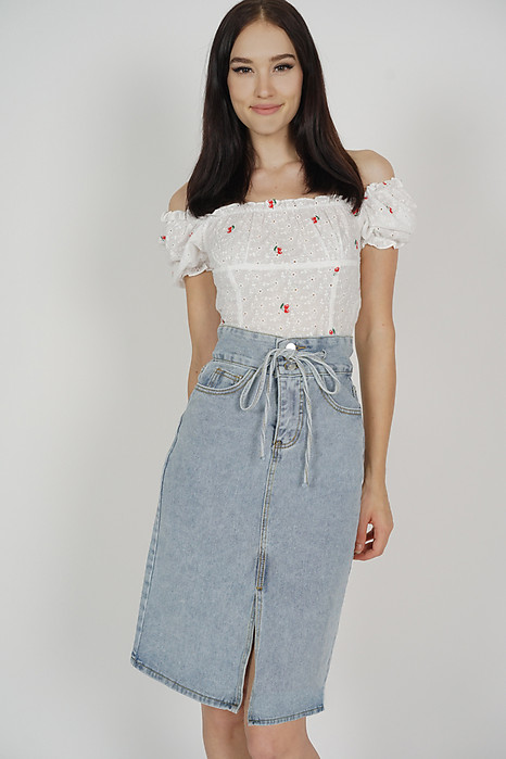 Trista Denim Skirt in Light Blue - Online Exclusive