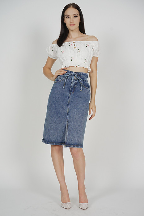 Trista Denim Skirt in Dark Blue - Online Exclusive