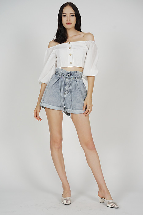 Boa Drawstring Denim Shorts in Light Blue