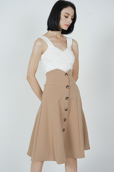 Aziel Buttoned Midi Skirt in Cinnamon - Online Exclusive