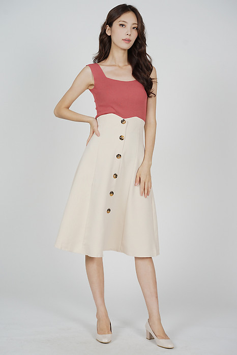 Aziel Buttoned Midi Skirt in Khaki - Arriving Soon