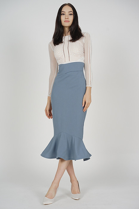 Abrie Flounce Mermaid Skirt in Blue